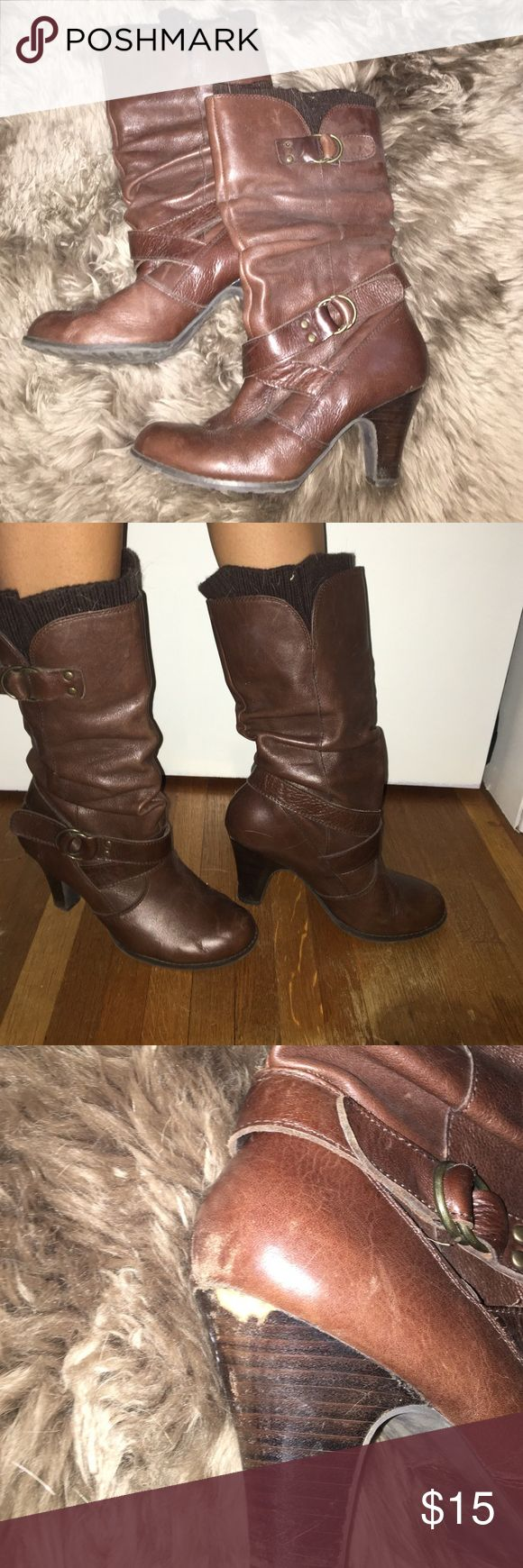 "Slouchy Aldo boots with removable ""boot sock"" Brown slouchy Aldo boots with buckle detail and removable ""boot sock"". Slight chipping on heel shown in photo. Aldo Shoes Heeled Boots"