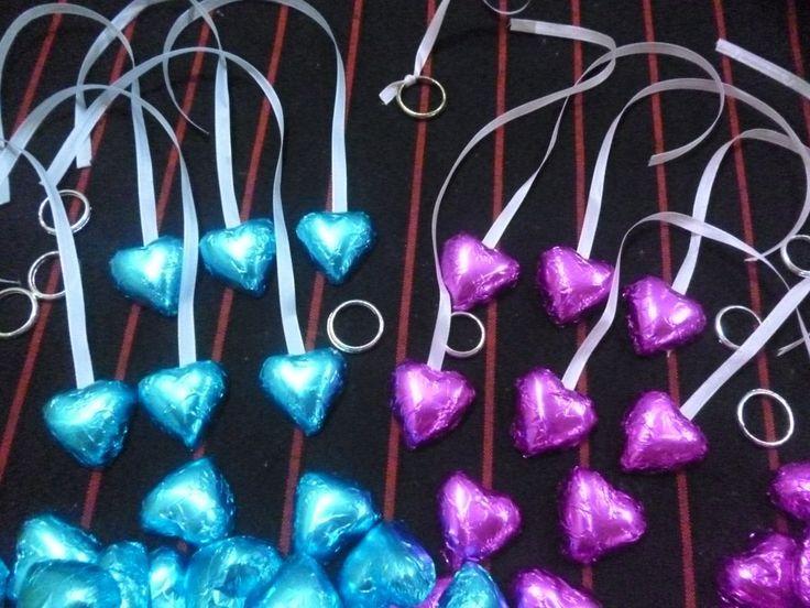 10 Corazones Chocolate Con Cinta Dije Souvenir Casamiento 15 - $ 4,50 en MercadoLibre