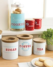 Can't find the perfect storage containers for your kitchen? Make them  yourself with Martha Stewart Crafts Paints and Stencils in any color  combo you please. We love this pairing of light blue and red.