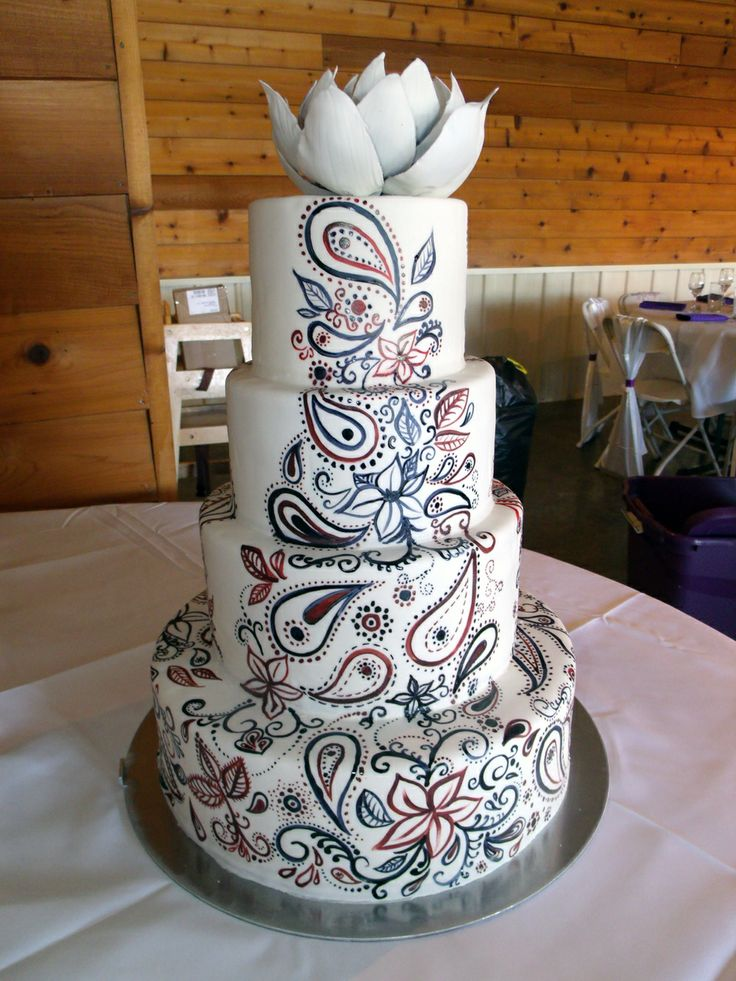 Henna Cake | Hand-Painted Henna/Paisley Wedding Cake