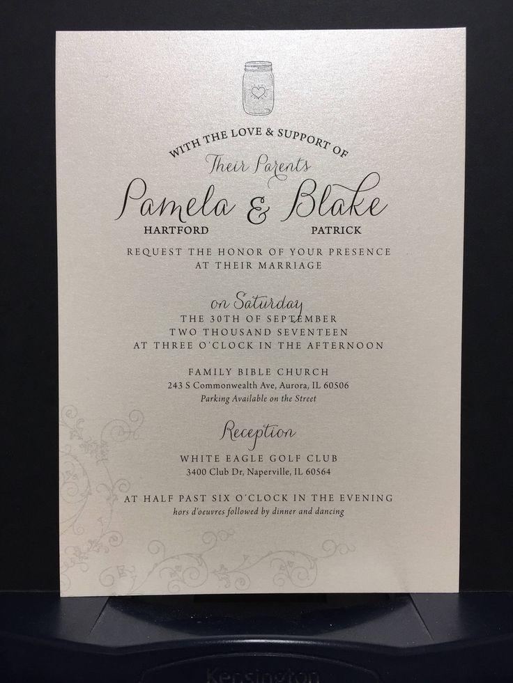 Simple Mason Jar Wedding Invitation Set Elegant Shimmer Pearlized Champagne Card Stock