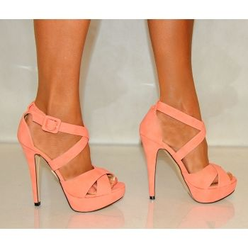 Koi Couture Ladies J5 Coral Strappy High Heels! I NEED THESE! ♥