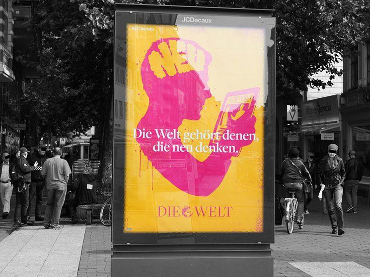axel springer ag. die welt 2012 die welt, illustration, rocket + wink, bunt, gelb, rosa, neu, 2012, plakate