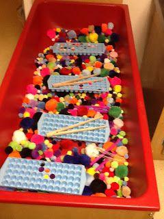 pom pom sensory bin and ice cube trays