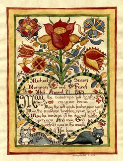 Note the cats --PA German Fraktur - Bing images