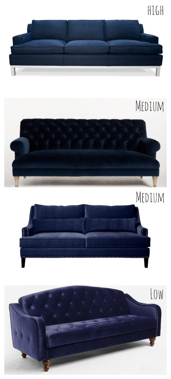 Navy blue sofa couches at an array of prices
