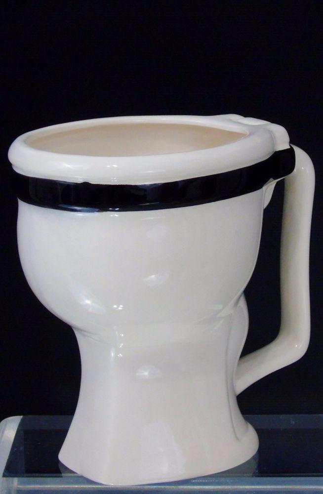 toilet bowl large ceramic coffee cup mug small planter vintage game works
