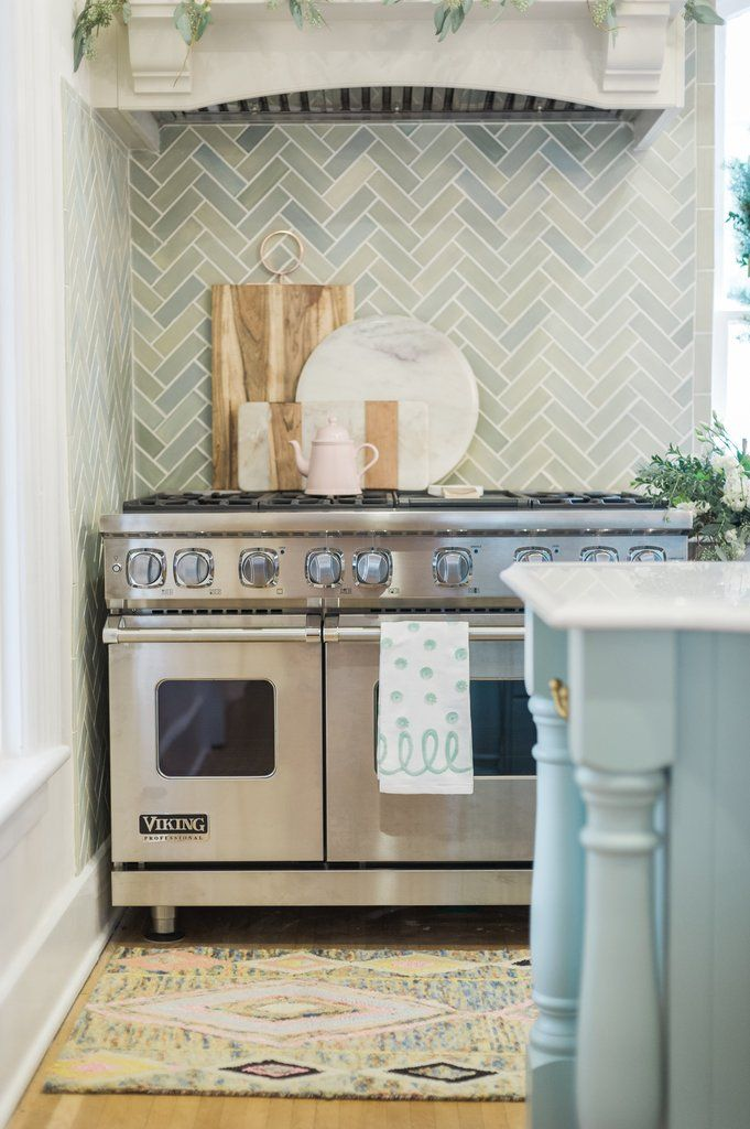 Blue Opal Herringbone Kitchen Backsplash Kitchen Tiles Ceramic