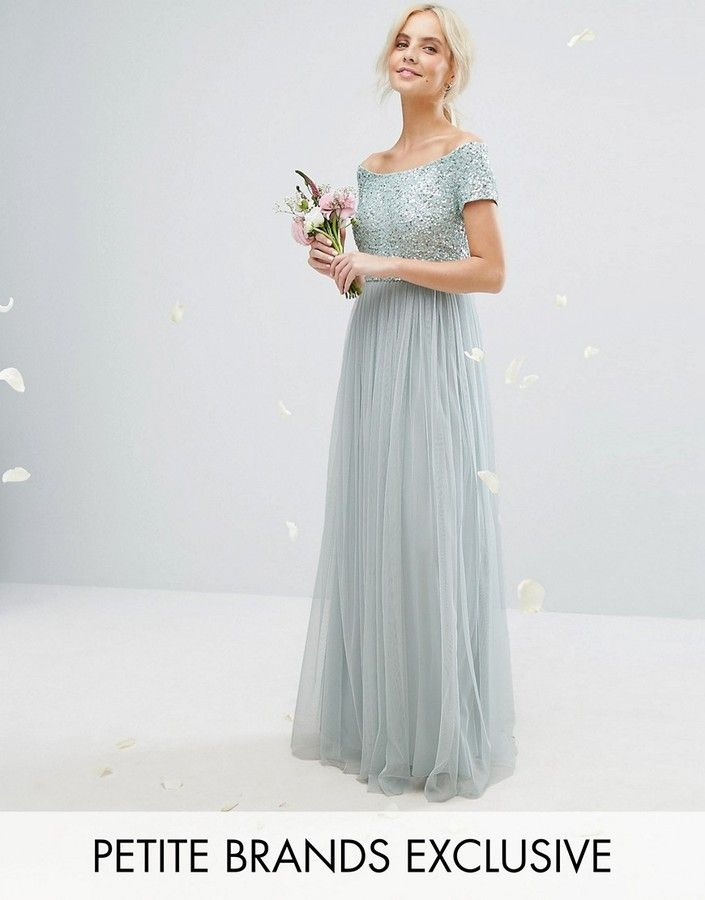 bardot maya petite maxi dress with delicate sequins and tulle skirt