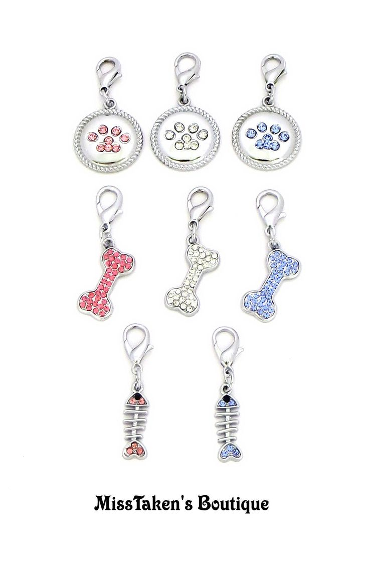 ✿ Can be attached to a pet's collar or put on a key chain etc. ✿     Condition: Brand New    Material: Zinc Alloy,Czech Stones (Lead/Nickle Free)