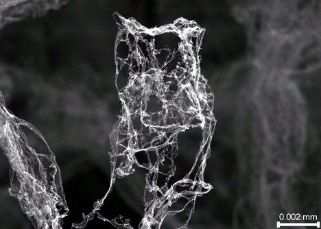Aerographite: World's New Lightest Material // Up until recently, aerogel was known as the world's least dense material. With a density of just 1 mg/cm³, aerogel is nearly all air but incredibly strong. Now, a group of researchers at two German universities have created an even less dense material called aerographite.