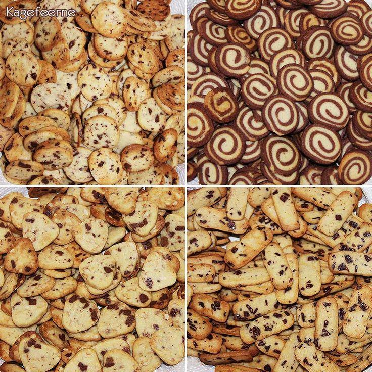 4 slags Specier: chokolade specier, orangechokolade specier, nouget specier og chokoladesnegle specier - Specier a traditional Danish Butter Cookie