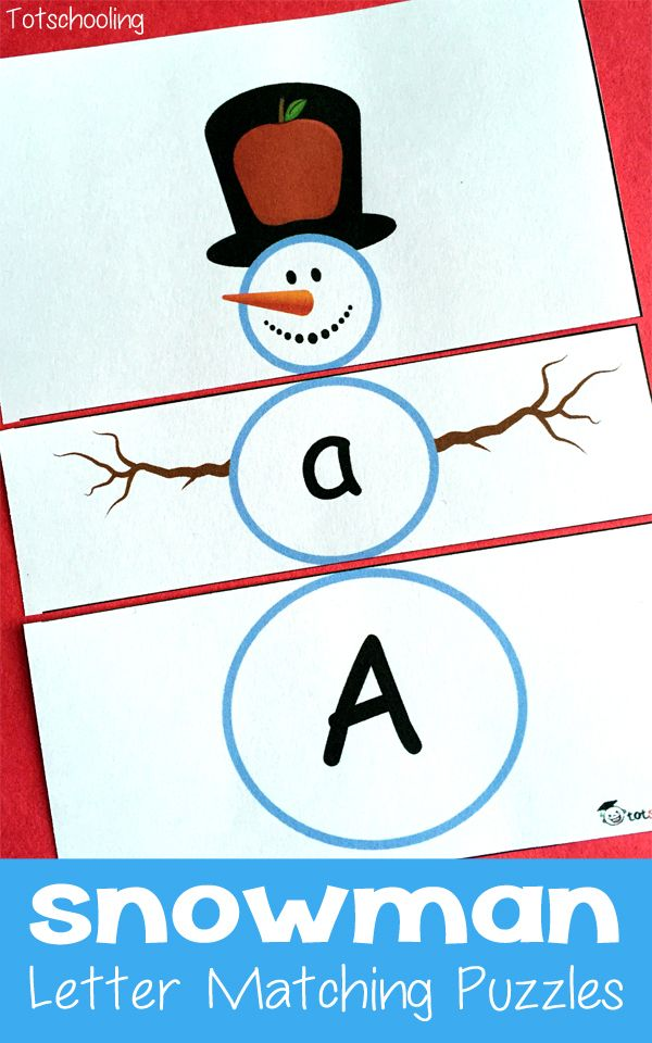Preschoolers can practice letter cases and letter sounds with these free printable snowman puzzles from Totschooling. There is one snowman for each letter of
