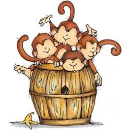 monkeys in a barrel
