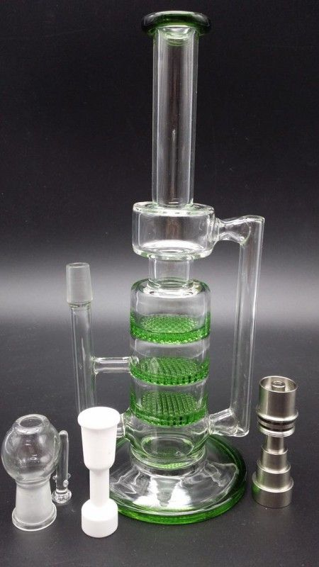 2016 New Glass water pipe glass BONG water pipe with 3 green Honeycomb 14.4 Joint with titanium ceramic nail