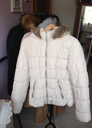 Kaufe meinen Artikel bei #Kleiderkreisel http://www.kleiderkreisel.de/damenmode/daunenjacken/143003497-winterjacke-weiss-creme-offwhite-fellkapuze-stepp-daunen