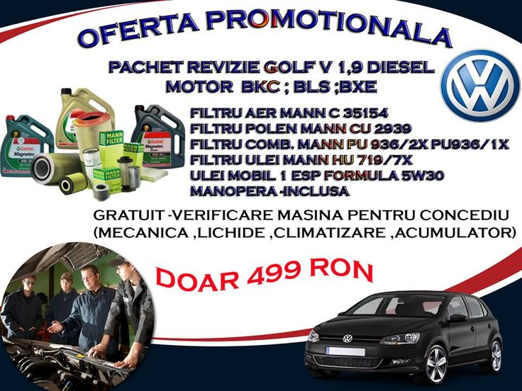 Oferta Promotionala Service Auto Almira - Revizie Golf V 1,9 Diesel 499 Ron