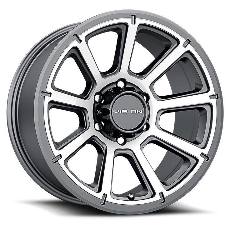 "17"" Vision 353 Turbine Gunmetal Machined Wheel 17x8.5 6x5"