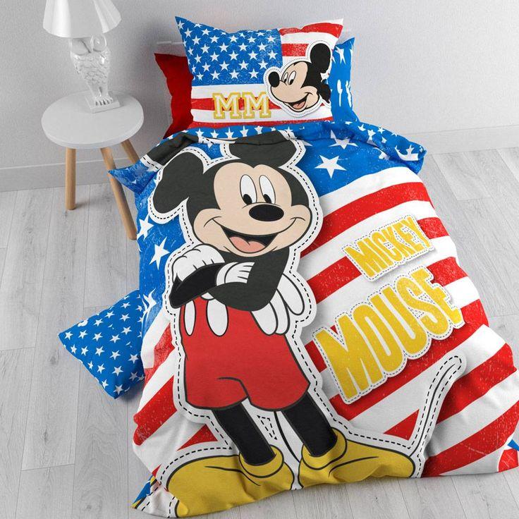 Mickey Mouse Dekbedovertrek met Kussensloop - Amerika (140x200cm)  #dekbedovertrek #mickeymouse #disney