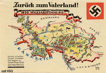 """""""Zurück zum Vaterland"""": from the Saarland plebiscite collection (1935).  In a referendum on 13 Jan 1935 the Saarlanders were allowed to choose which nation they wanted to be part of. About 0.4 percent voted for France, 8.8 percent wanted to go on under the League of Nations. Thus the referendum was a great success for the Nazis.    European Referendum   IISH"""