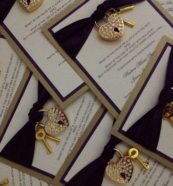 rhinestone heart lock invitation wedding invitation rhinestone