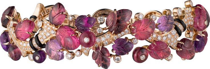 CARTIER. Bracelet with engraved stones, 18K pink gold, set with rubellites, amethysts, garnets, onyx and 304 brilliant-cut diamonds totaling 2.88 carats. (P.R.P. $172,000) #Cartier #CartierMagicien #HauteJoaillerie #FineJewelry #Diamond #Rubellite #Amethyst #Garnet #EngravedStones