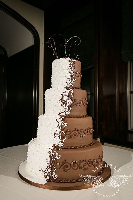 half bride, half groom, white, chocolate, center scroll, pearls, wire topper
