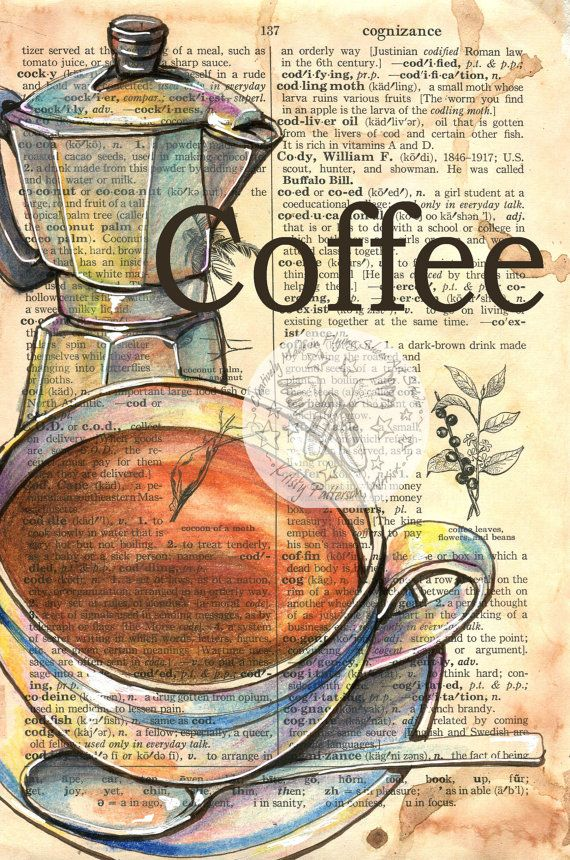 PRINT: Coffee Mixed Media Drawing on Dictionary by flyingshoes