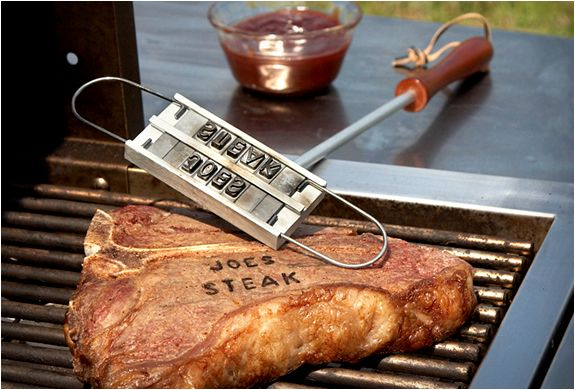 If you haven´t picked up anything for Father´s day, then check out this cool BBQ Branding Iron for personalized grilling. The kit includes a Metal branding iron with wooden handle plus every letter of the alphabet, along with extras and spacers, for branding outgoing messages on every piece of meat that leaves your grill, the only creative limit is your own imagination