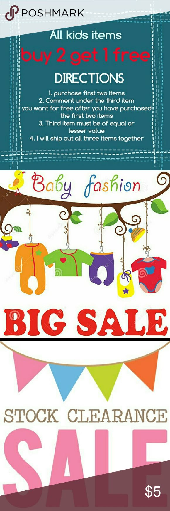 OH BABY! BID SALE THIS WEEKEND!!! Buy 2 kids items get the 3rd one FREE Janie and Jack Shirts & Tops