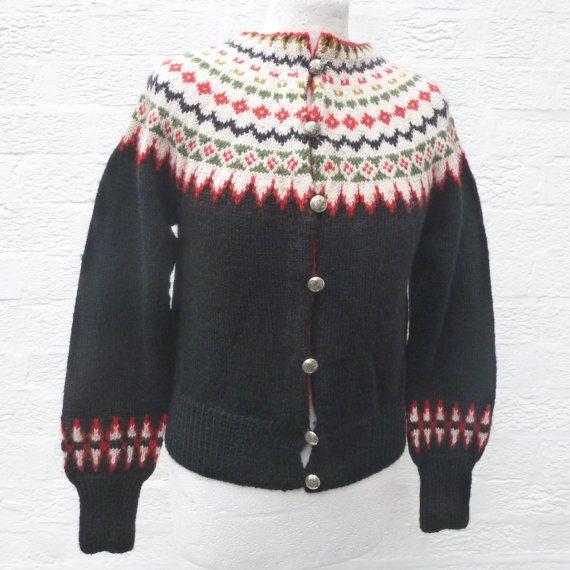Black cardigan handmade knit small clothing 70s fashion ski city cardigan…