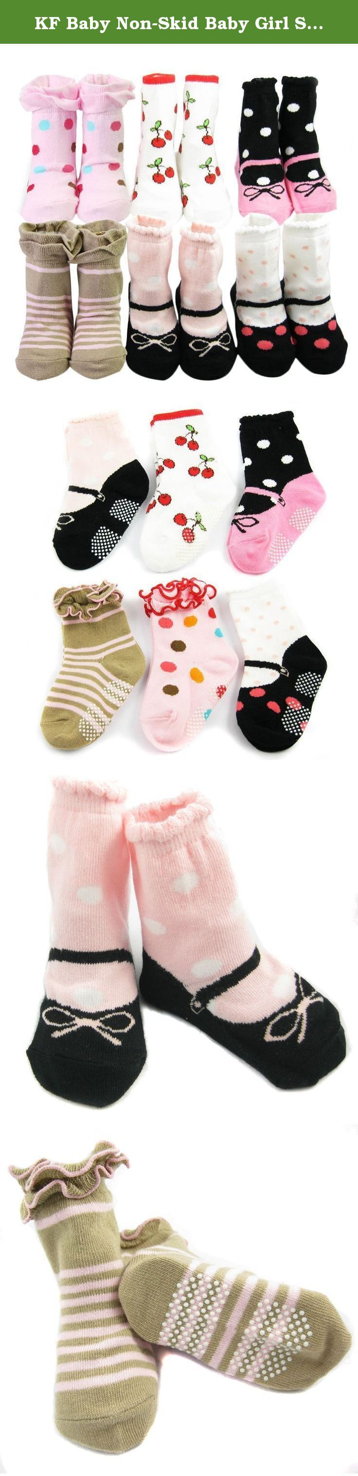 KF Baby Non-Skid Baby Girl Socks, 6 pairs, Infants to Toddlers. KF Baby Non-Skid Baby Girl Socks is an ideal gift for a new arrival in the family. These 6 pairs of non-skid socks are made of cotton-rich fabric that is soft and comfortable on the little feet of your baby. They are all in fun, bright colors with adorable shoes design and non-skid soles for better traction. The socks come with a KF Baby To/From gift tag. Recommended for babies between 6 - 18 months. KF Baby is a trademark...