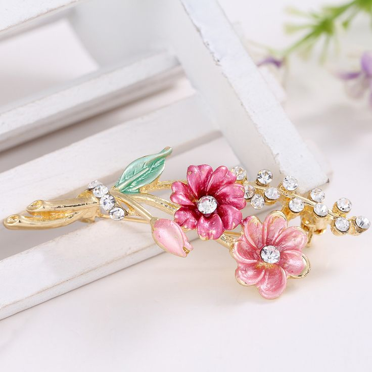 hot selling new arrived  New Style Crystal Leaves Flower  Enamel Breastpin Pin  Brooch Bouquet