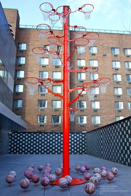 basketball-hoop tree and little basketballs, installation