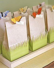 Easier than large Easter baskets. Baskets get larger each year & require more & more today fill them. These cute little bags help you keep it sweet & simple Easter gift or party favor. Cut the grass surround from craft paper or buy a border at Michaels/craft store.