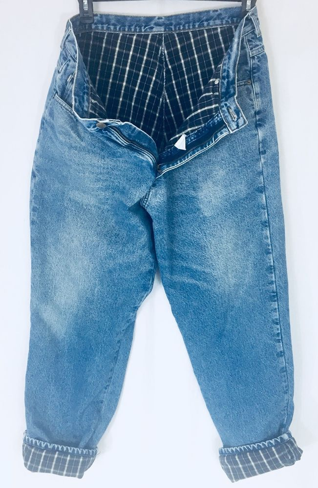 LL Bean Men's 38 x 32 Flannel Lined Jeans Straight Fit Blue Green Flannel   | eBay