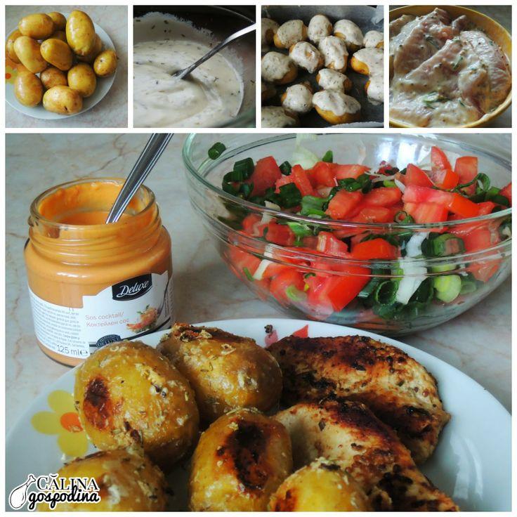 Piept de curcan marinat în sos de muștar și cartofi noi la cuptor aromați cu usturoi și rozmarin