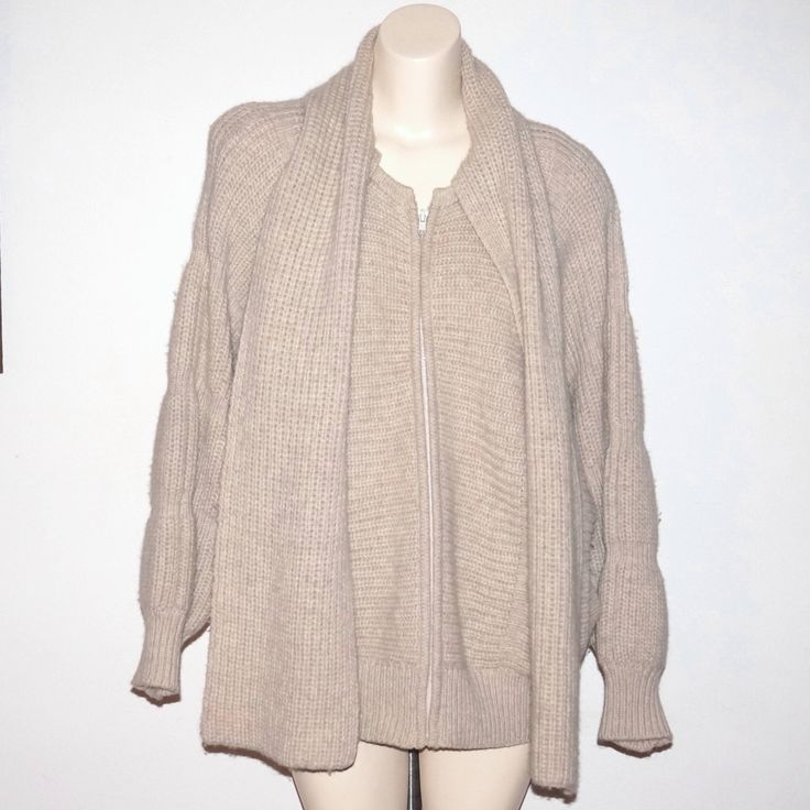 Vintage Bonnie Lee Wool Sweater Jacket Coat Attached Scarf by NotSewIdle on Etsy