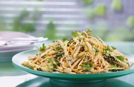 Cucumber Sesame Noodle Salad - Simply Ming Add shredded cooked chicken breast and top with a little freshly minced ginger for a bit of a kick!  Also can add some toasted sesame seeds.