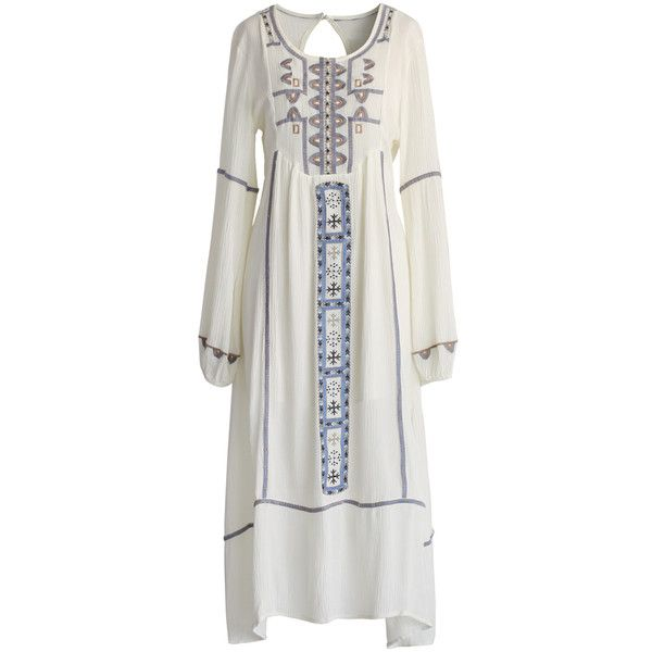 Chicwish Boho Tribe Embroidered Maxi Dress (100 CAD) ❤ liked on Polyvore featuring dresses, long dresses, multi, cut out dress, long cutout dress, boho dress, maxi dress and bohemian dress