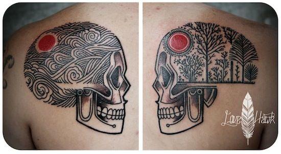 Forearm Tattoo Cover Sleeve | skull tattoo by David Hale | tattoo artist – Athens GA, USA