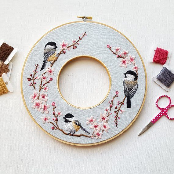 Hand Embroidery PDF Pattern: Spring Double Hoop Wreath