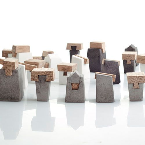 Wood + Cement Chess Pieces