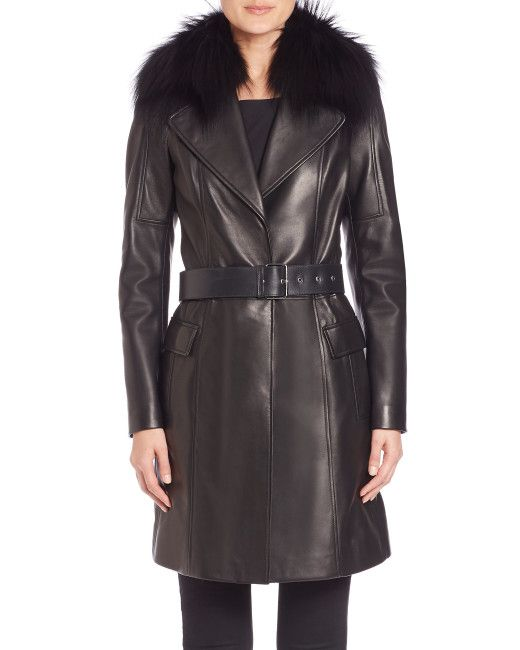 The Fur Salon | Black Fur-collar Leather Coat | Lyst