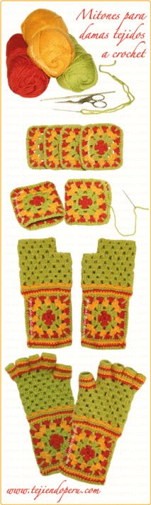 Love the gloves! The blog/tutorial is in Spanish but it looks fairly simple -Como tejer mitones a crochet para damas!