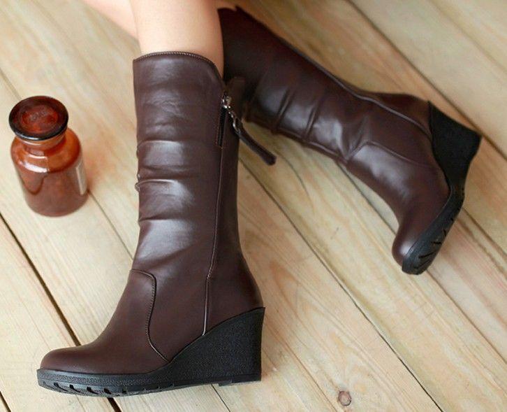 Chegada nova mulheres cunhas botas de couro botas de zíper meados de bezerro para mulheres tamanho 34 - 40 transporte da gota 906