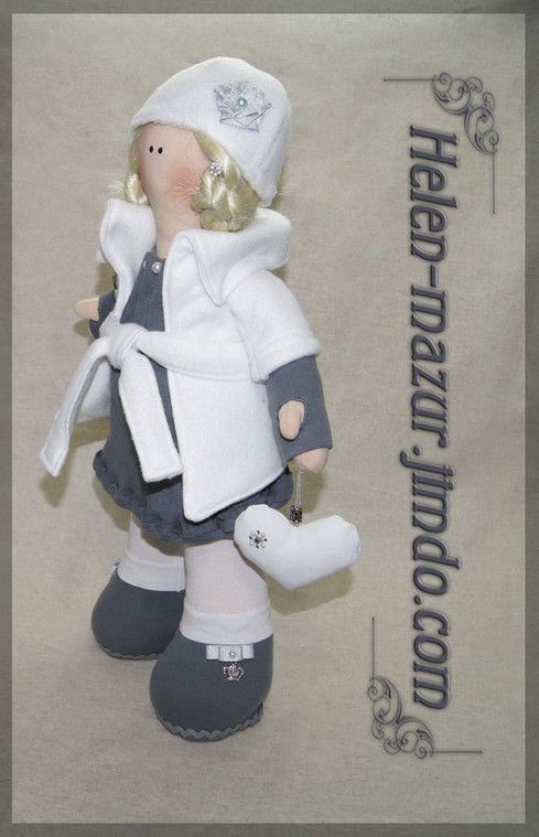 Текстильная кукла с искусственными волосами, набивка - холлофайбер. Рост 52 см. Тextile doll with artificial hair, stuffing - a hollofayber. Height 52 cm