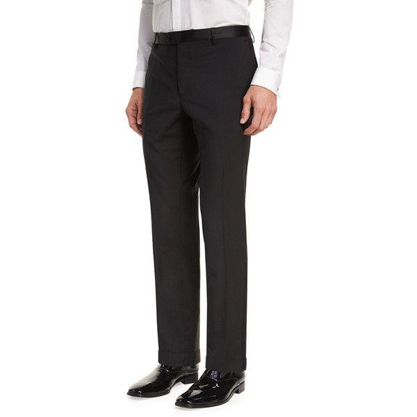 Etro Wool Satin-Trim Tuxedo Pants ($525) ❤ liked on Polyvore featuring men's fashion, men's clothing, men's pants, men's dress pants, black, men's apparel pants, mens wool dress pants, mens wool pants, mens tuxedo pants and mens flat front dress pants