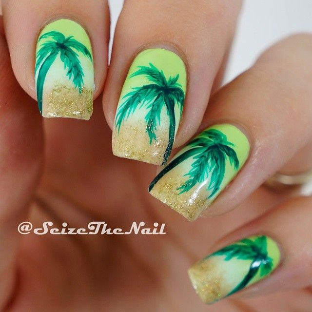 Palm Trees Nails by @seizethenail #palmtreenails #nailart