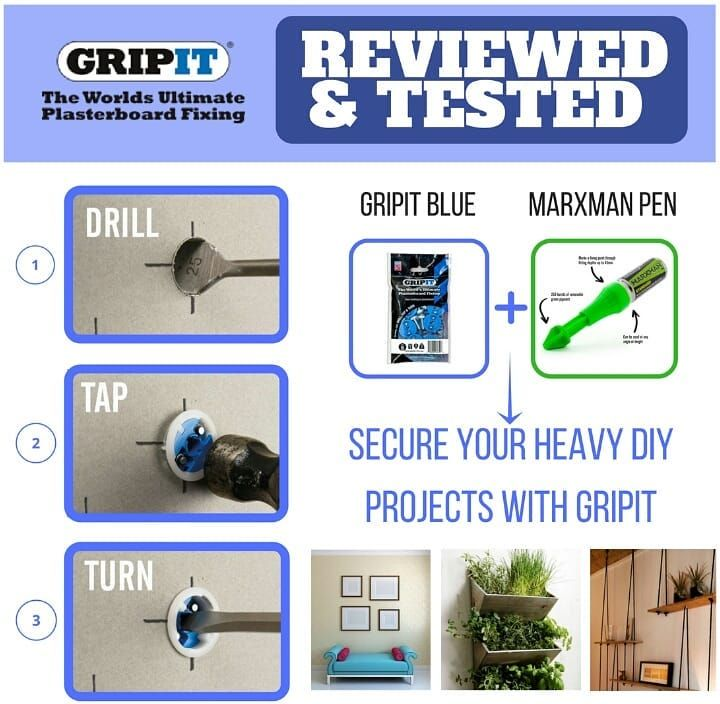 Gripit Blue Drywall Anchor Fixings are designed to securely hold